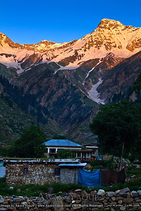 Last sun rays falling on mountain at Naran