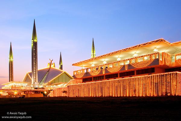 Shah Faisal Mosque at Dusk