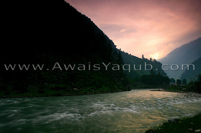 River Kunhar and the sunrise