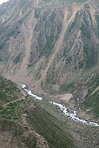 Water from lake flowing down to fall into the river Kunhar.