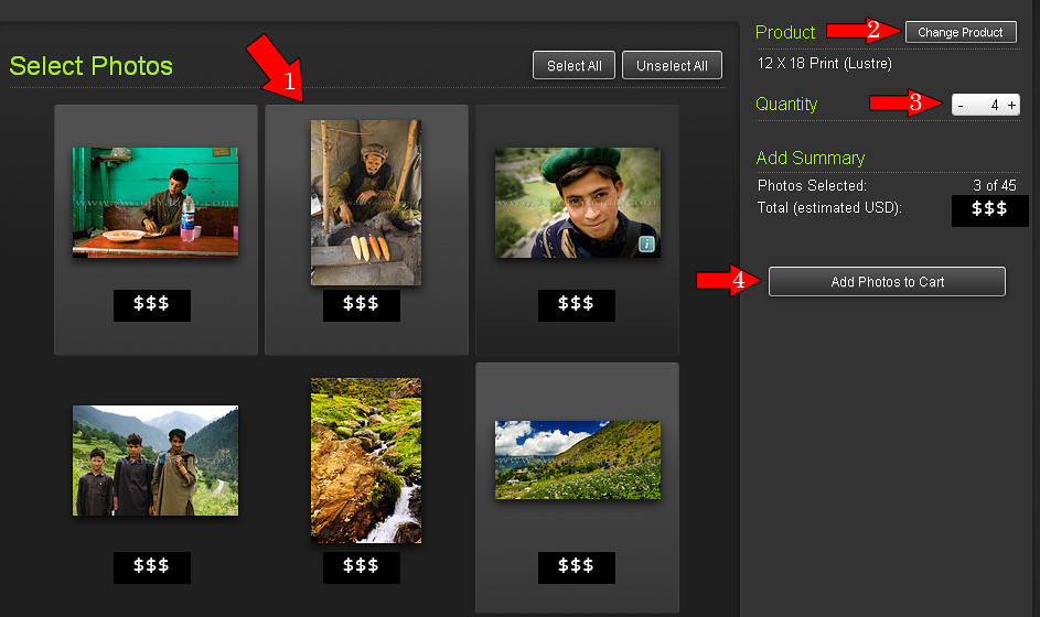 "To buy multiple photos from gallery, click ""Buy multiple photos from gallery""<br /> <br /> It will open a page with all photos in gallery<br /> <br /> 1) Single click on each image you want to buy<br /> 2) Change product i.e print size etc<br /> 3) Set quantity of images<br /> 4) Add to card and proceed to checkout"